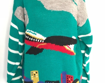 90's Airplane Knit Sweater