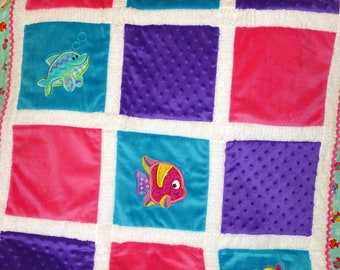 "Fish Appliqued Minky Baby Blanket ""Adorable Sea Creatures for a little girl"""