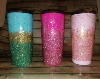 Set of 3 glittered stainless steel tumblers