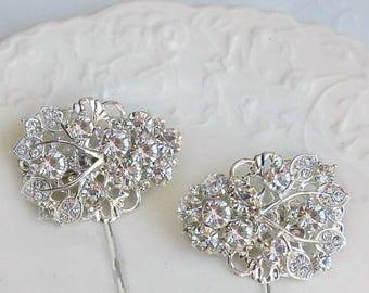 Crystal Wedding Hair Clip bridal Bobby Pin bridesmaid Hair Pin silver Bobby Pin Hair flower Clip Wedding Hair Accessory