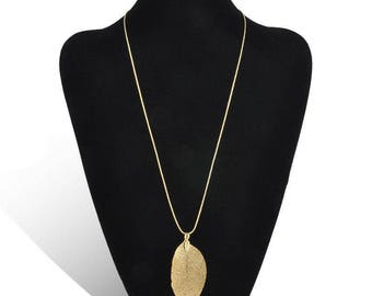 Gold Leaf Necklace Pendant Long Chain Leaves Natural electroplated Statement
