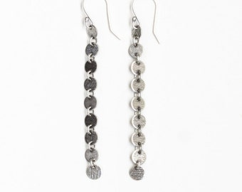 """Long silver earrings of 9 connected silver discs named after Goddesses of Art and Literature - """"Muse Earrings"""""""