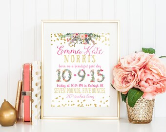 DIGITAL Baby Girl Birth Announcement Wall Art, Gold Foil Nursery, Pink Nursery Decor, Personalized Baby Gift, Date of Birth Stats - ANY SIZE