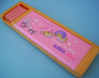 Soundy Pencil Box. Pink Mermaid Pencilcase. 1980s Sweet Stationary. Bubble Love. Vintage School Supplies
