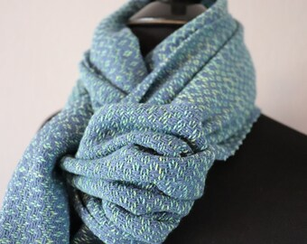 Blue and Green Handwoven Scarf | Cotton Scarf | Gift for Her | Gift for Mom