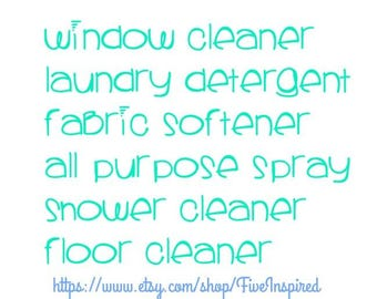 Set of 6 Cleaning labels, Pantry labels, Vinyl decals, kitchen, 1 or 2 inches
