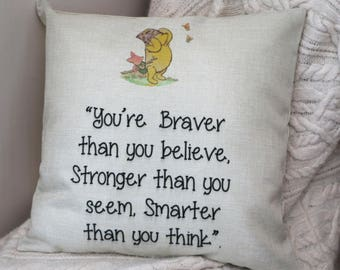 """disney winnie the pooh piglet inspired quote """" you're braver then you think ..."""" cushion cover 45 by 45 cm  gift"""