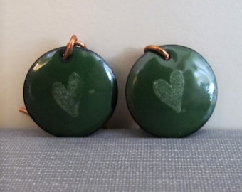 Green Earrings, Enameled Earrings, Copper Earrings, Heart Earrings, Forest Green Hearts, Enameled Copper, Geometric Earrings, Round Circles