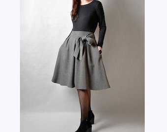 Grey Gray Midi Skirt, Tweed Skirt, Wool Skirt with Pockets and Ties