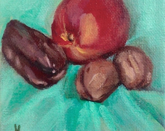 Original Painting // Still Life of Nectarine, Walnuts and a Date // Acrylic Art // Red, Yellow and Green 10 cm x 10cm