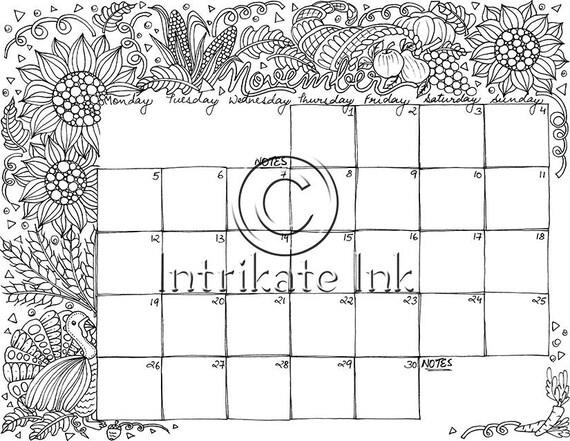 november 2018 coloring page calendar planner nov doodle flowers instant download printable joy digital download only
