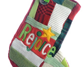 Christmas Stocking - Traditional Holiday Colors - Personalized - ONE