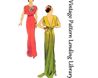 1934 Ladies Evening Gown With Train - Reproduction Sewing Pattern #T6573