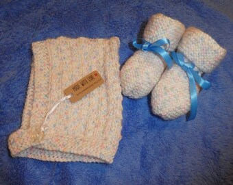 Baby pixie hat and booties, newborn, hat, shoes, hand knitted, winter, warm, child