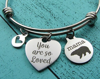 gift for Mom, Mama bear bracelet, Momma bear jewelry, Mom birthday gift, baby shower gift, new Mommy, Mother's Day gift, you are so loved