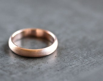 Rose Gold Men's Wedding Band, Brushed Men's or Women's Unisex 4mm Low Dome Recycled 14k Rose Eco Gold Ring -  Made in Your Size