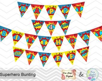 Printable Superhero Banner, Printable Superhero Bunting, Instant download Superhero Birthday Banner, Superhero Birthday Party Bunting 00230