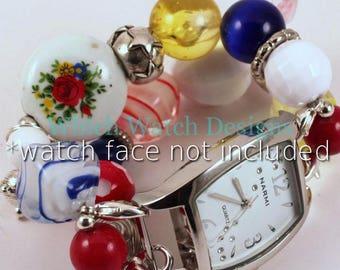 In erster Linie... Rot, gelb, blau und weiß austauschbaren Perlen Armband, Vintage-Stil