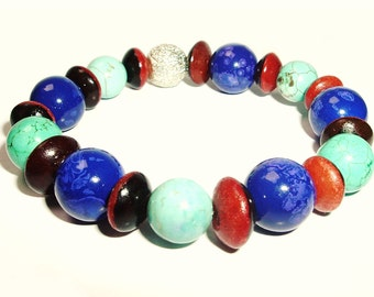 Sapphire and Turquoise Beaded Stretch Bracelet