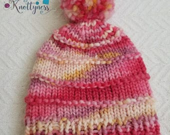 Frosted Rose Adult size Beanie with Pom-Pom **READY to ship** FREE US shipping**