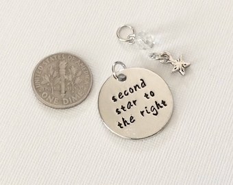 """3 -  """"Second Star to the Right"""" Pendant or Charm -Separated Lovers necklace, Rhodium plated pendant, Friendship necklace, stamped jewelry"""