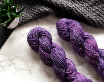 Sock yarn, hand dyed yarn, wool yarn, 60th birthday gift, hand dyed sock yarn, merino wool yarn, cat lover gift, PREORDER - Lavender