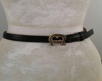 Vintage Etienne Aigner Leather Skinny Belt, Vintage Ladies Navy Belt with Brass A Buckle, Vintage Aigner Leather Navy Thin Belt 32 inch