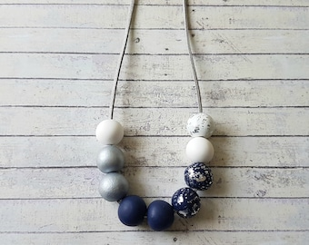 Navy and silver necklace statement, Navy chunky necklace, Christmas gift for sister, Navy white necklace, Dark blue necklace, Navy jewelry