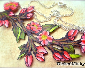 Bright Hot Pink Cherry Blossom Sakura Flower and buds Branch Leaves Spring Summer NEW Bridesmaid Gifts Wedding Mothers Jewelry Plum Blossom