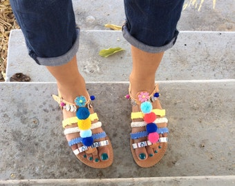 POM POM Sandals, Boho Gladiator Sandals, Greek Leather Sandals, Boho sandals,  Handmade Sandals, Women Sandals, Gladiator Sandals, F