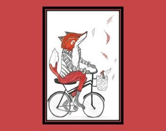 fox on bike  print, fox print, travelling fox print, fox art, fox print, fox art, fox, quirky fox print, fox boys room