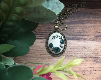 Embroidered Pendant Floral Green Necklace Handmade Ready to be shipped
