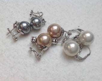 Vtg 80s Murano Bridal SetPearls Sterling Silver and Bright Zircon Earrings, Set of 3 Pairs Pearls Earrings //  Bridesmaid Gift
