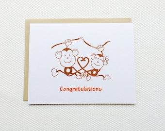 Two Monkeys in Love - Gocco Printed Wedding or Engagement Congratulations Card