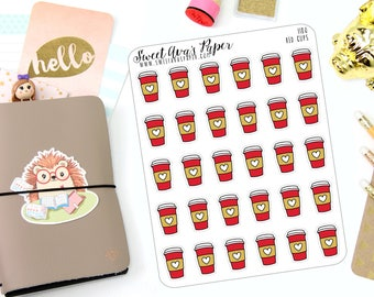 Red Cup Planner Stickers - Coffee Planner Stickers - Peppermint Mocha Planner Stickers - But First Coffee - 1180