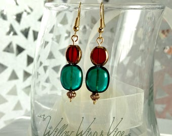 Czech Glass Earrings - Red and Gold