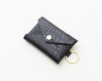 Black Leather Keychain Wallet, Crocodile Embossed Wallet, Keychain Credit Card Pouch, Keychain ID Wallet, Metro Card Pouch, Gift Card Holder