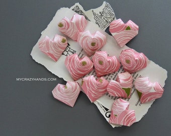 12+ origami hearts | pink wedding heart || bridal shower decor | bridesmaids gifts -pink rose