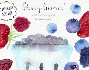 Watercolor Clip Art - Berries-Personal Use-Summer-Fruit-Picking-Instant Download-Picnic-Basket-Fun-Bright-Colorful-Summer-Spring-Delicious
