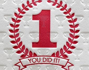 Letterpress Congratulations Card, Hooray, Achievement, Graduation Card, Promotion, Retirement, You Did It, Red