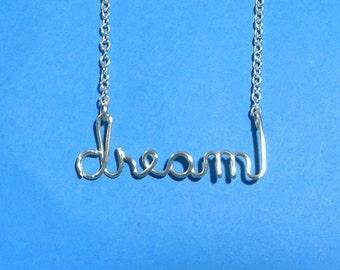 Silver wire DREAM necklace