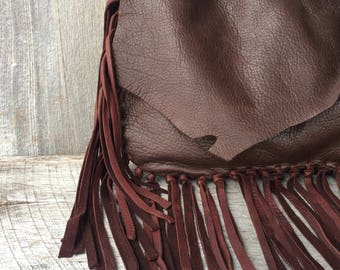 Deerskin Leather Fringe Bag in Dark Chocolate Brown with Hand Tied Fringe - Small Petite Purse - Soft - Natural - Rustic - by Stacy Leigh