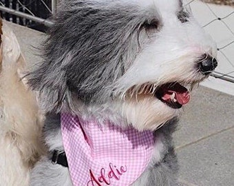 Personalized Dog Bandana |•| Pink Gingham Bandana |•| Best Custom Monogrammed Pets Scarf |•| Cute Puppy Gifts by Three Spoiled Dogs