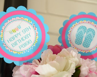 Flip flops party, pool party centerpieces-set of 2