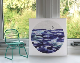 Lost at Sea Print - Sea Print - Boat Print - Embroidery - Print - Illustration - Wall Art - Unframed