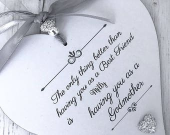 Personalised Best Friend/Godmother Heart Gift P286