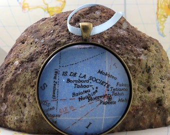 Bora Bora  Map Christmas Ornament,  Keep a memory Alive / HONEYMOON Gift / Wedding Map Gift / Travel Tree Ornament / Corporate gift
