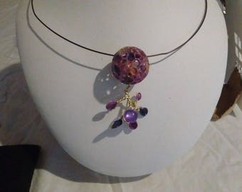 Earth and necklace flower purple iridescent