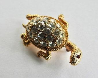 Kenneth Lane Rhinestone Turtle Brooch