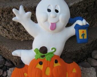 Halloween Ghost with Pumpkins Ceramic Decoration